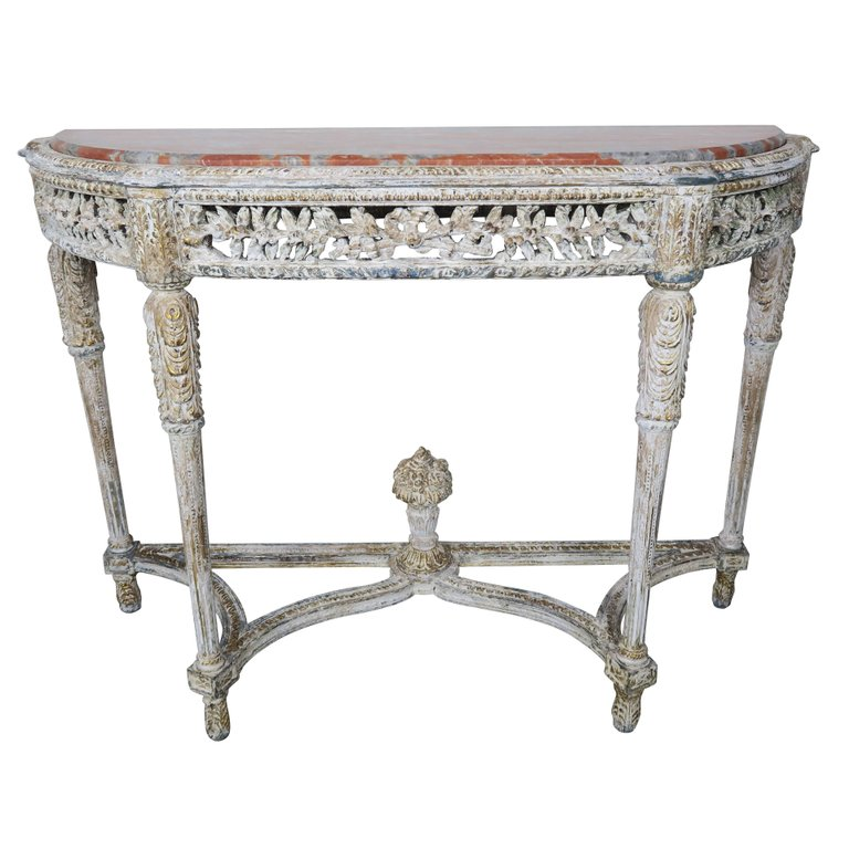 Louis XVI Style Painted Console with Marble Top (Only one console ...