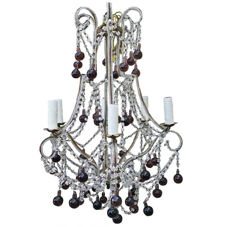 Italian macaroni crystal beaded chandelier with amethyst drops italian macaroni crystal beaded chandelier with amethyst drops mozeypictures Gallery