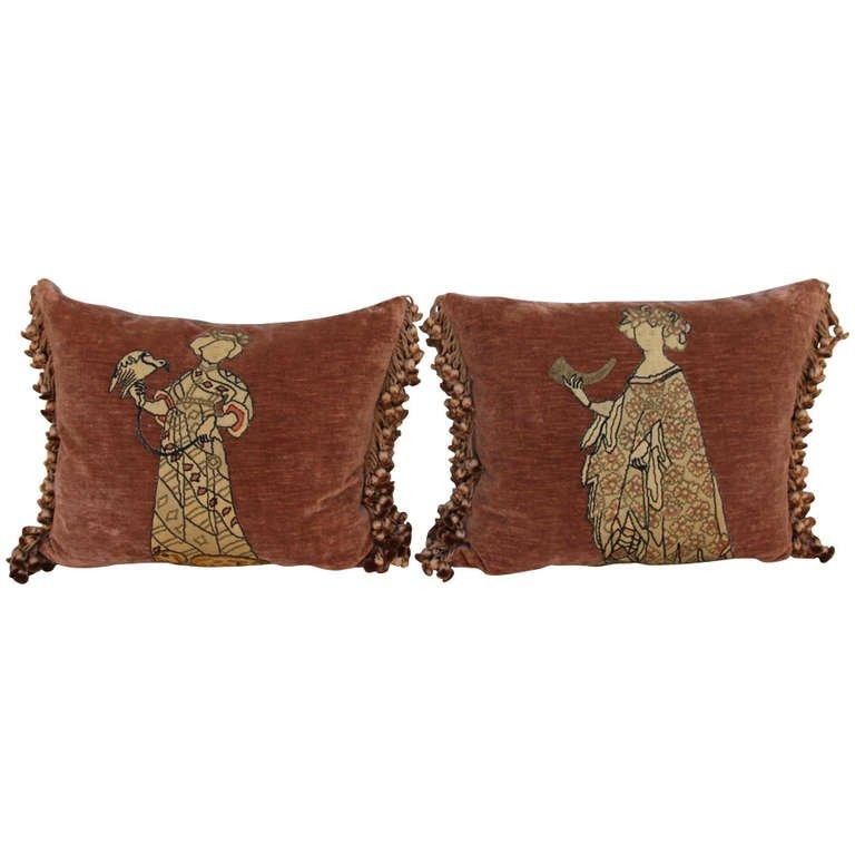 Pair of Figural Appliqued Vevlet Pillows
