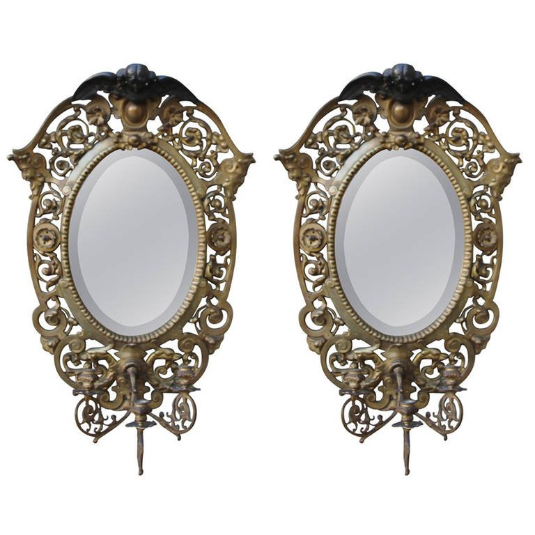 Pair of 19th Century French Bronze Mirrors or Sconces