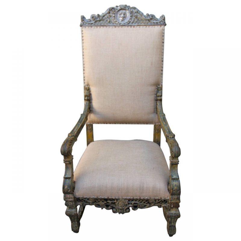 19th Century Grand Italian Painted Armchair