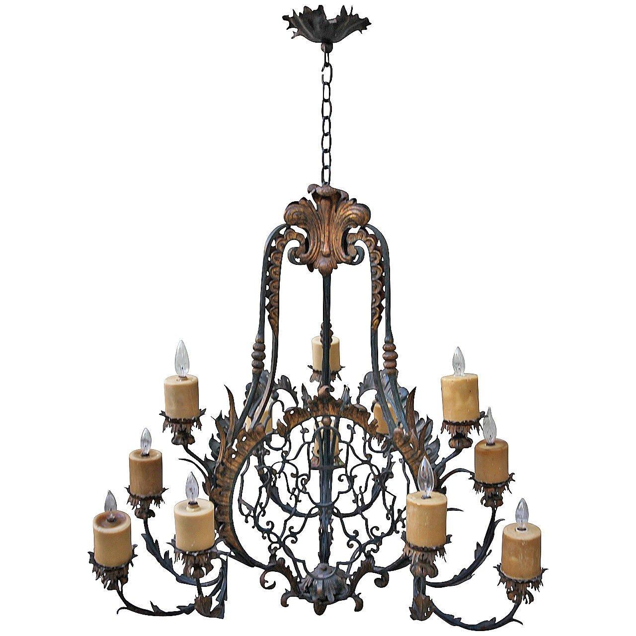 Spanish twelve light wrought iron chandelier melissa levinson antiques spanish twelve light wrought iron chandelier aloadofball Choice Image