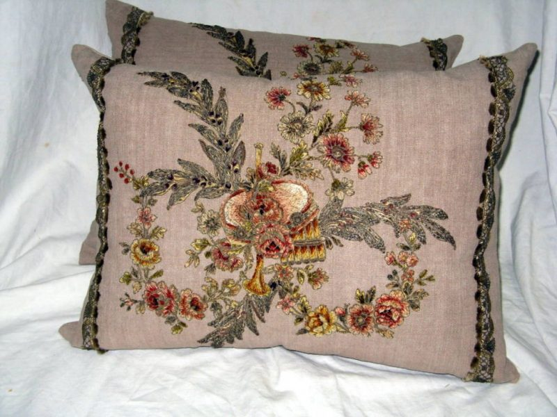 Pair of 19th C. French Appliqued Linen Pillows
