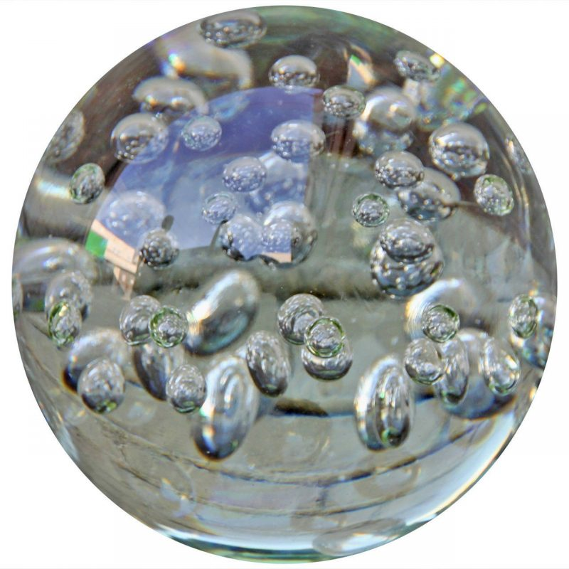 Italian Mid-Century Crystal Sphere with Bubbles