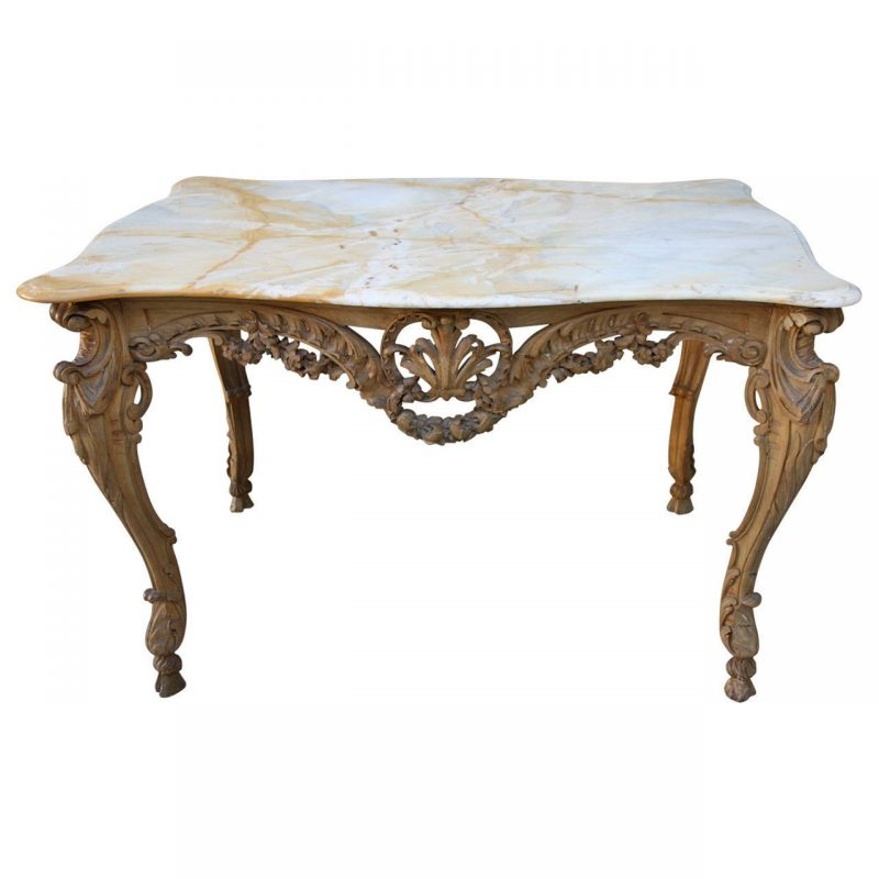 French Louis XV Style Carved Console with Onyx Top