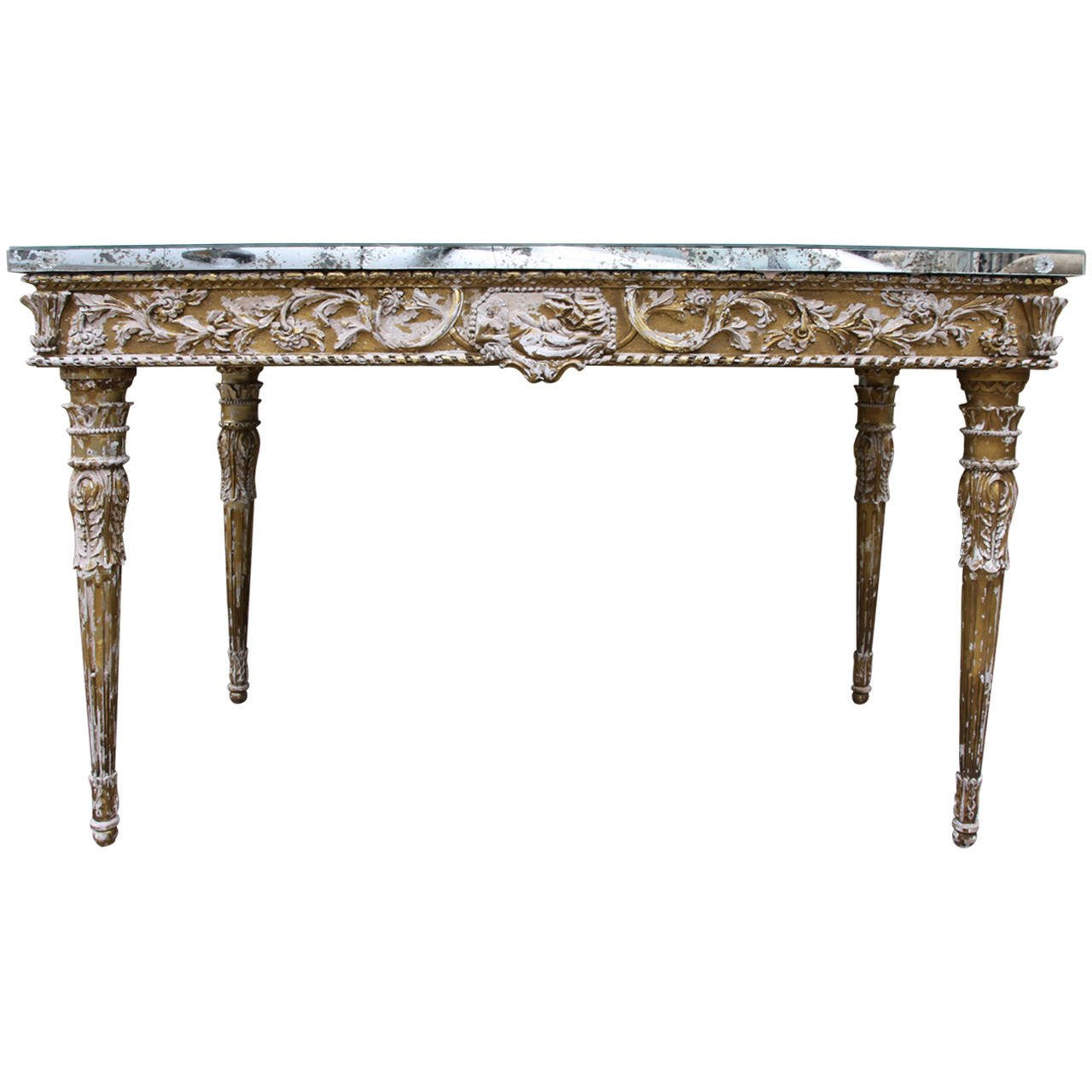 italian baroque style giltwood console with mirrored top melissa levinson antiques. Black Bedroom Furniture Sets. Home Design Ideas