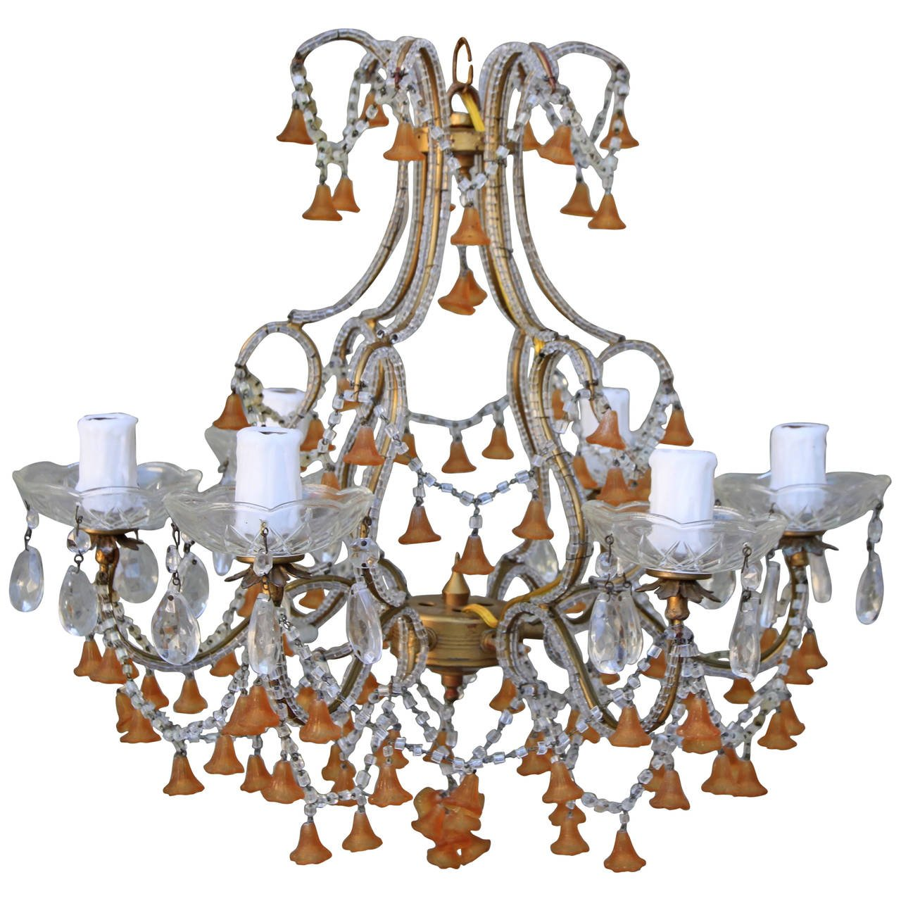 Six Light Amber Colored Murano Glass Chandelier