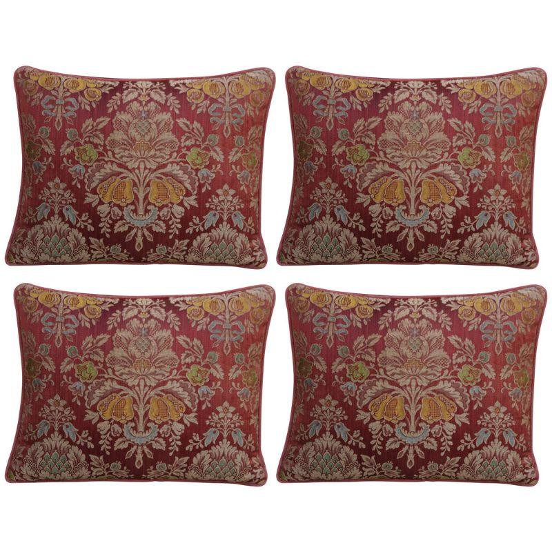 Set of Four Antique Silk Damask Pillows with Linen Backs