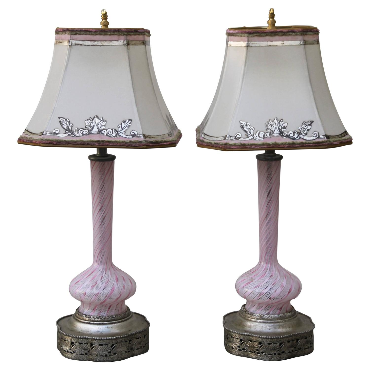 murano glass lamps w parchment shades melissa levinson antiques. Black Bedroom Furniture Sets. Home Design Ideas