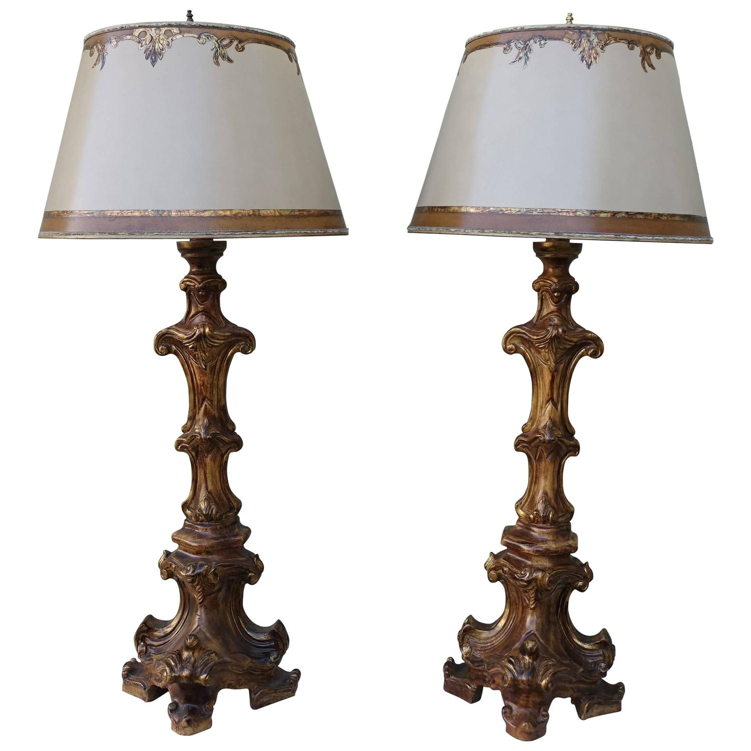 Carved Italian Candlestick Lamps With Parchment Shades