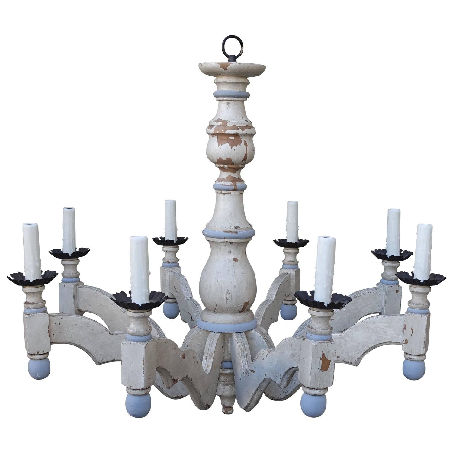 eight light blue and cream chandelier by paul ferrante - Paul Ferrante Chandelier