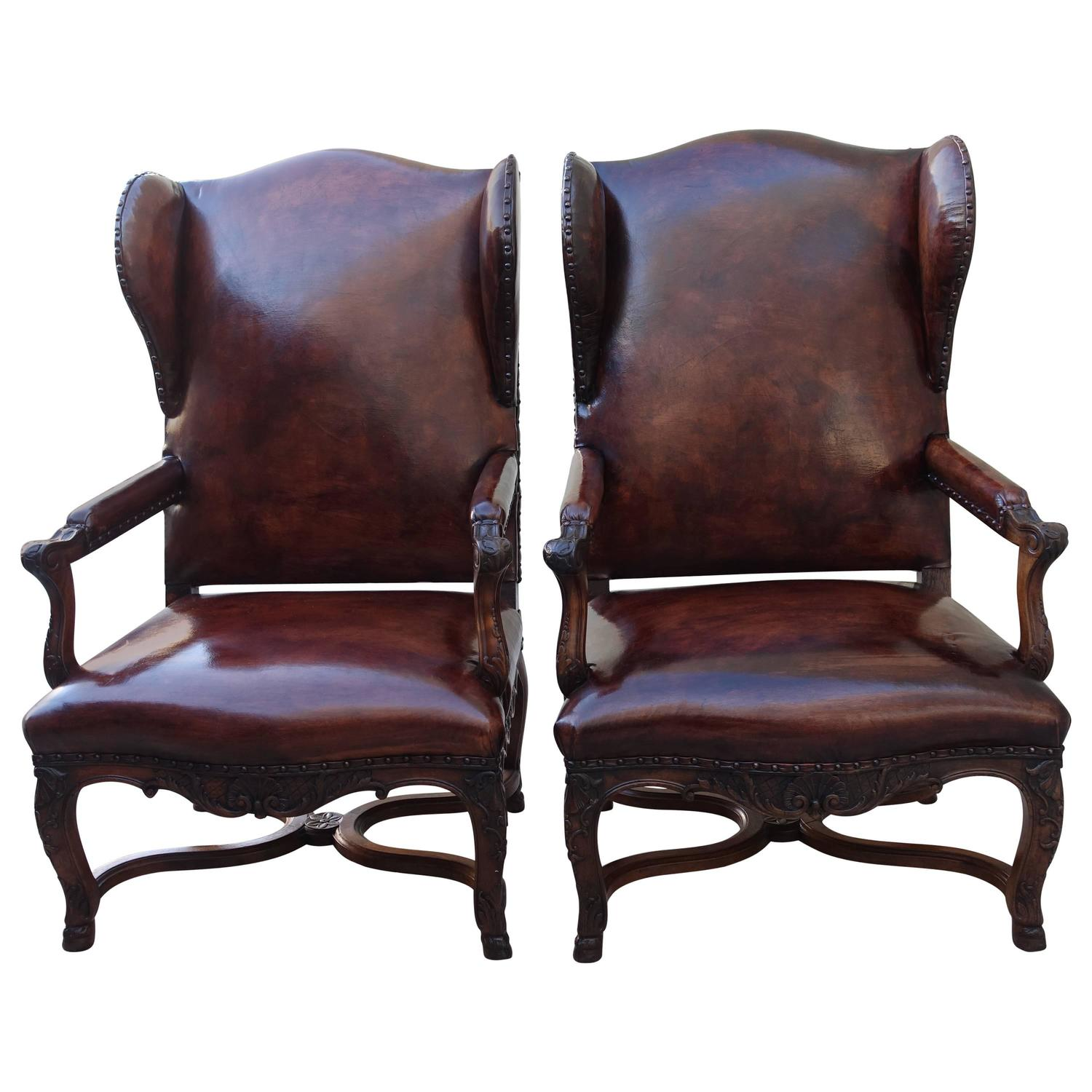 Pair Of French Regence Style Leather Armchairs
