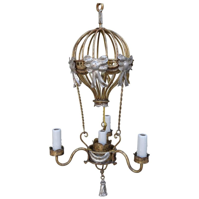 Gold and Silver Gilt Metal Balloon Chandelier
