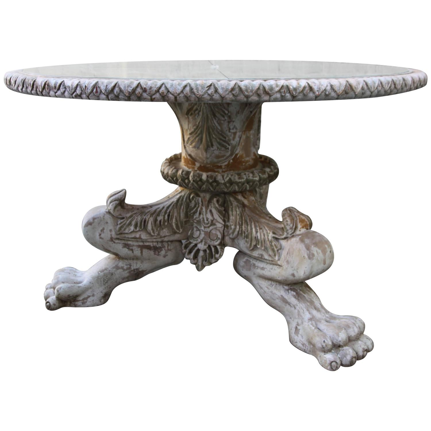 Italian Panted Dining Table with Antiqued Mirror Top   Melissa ...