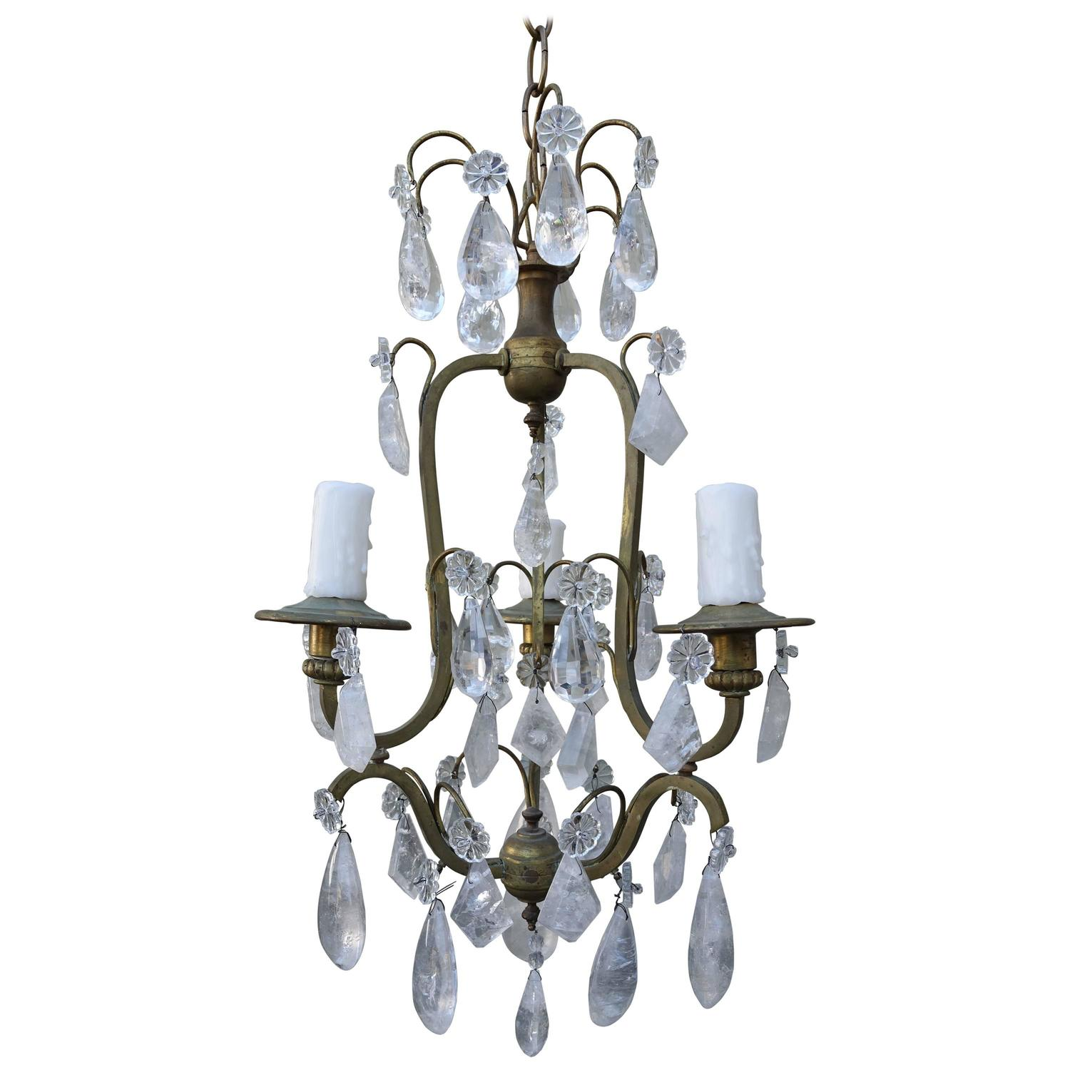 French Three Light Rock Crystal Chandelier