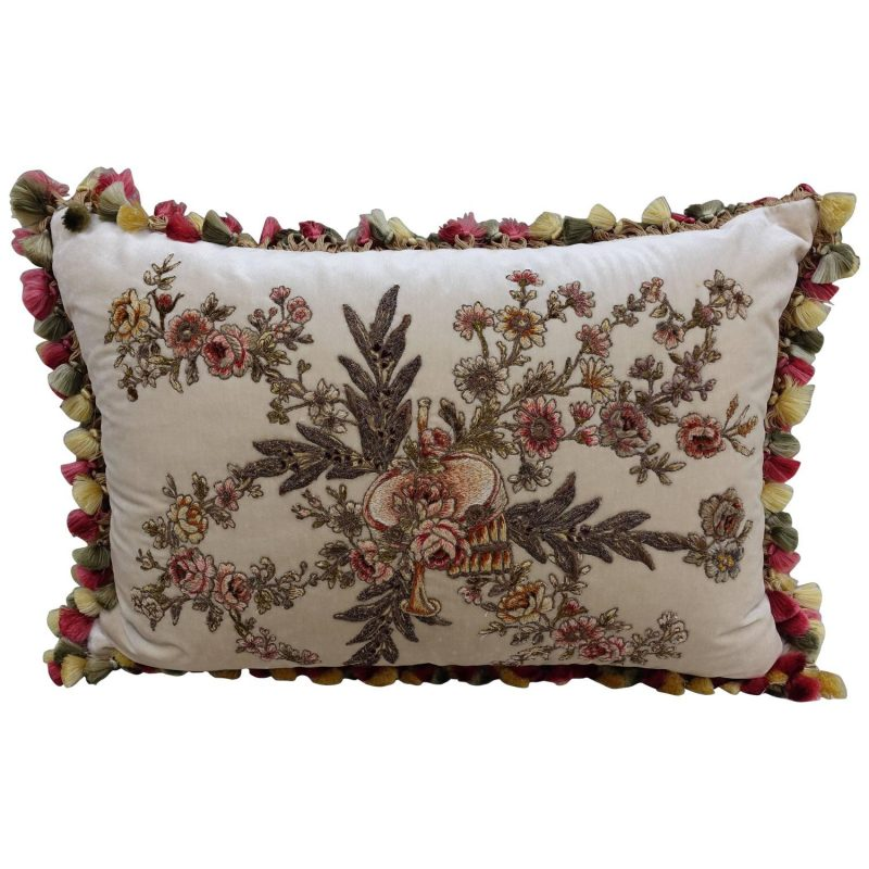 French Appliquéd Silk Velvet Pillow with Silk Tassel Fringe