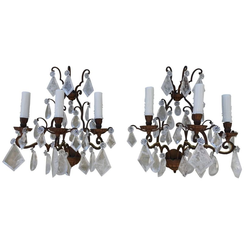 Pair of French Bronze Rock Crystal Sconces
