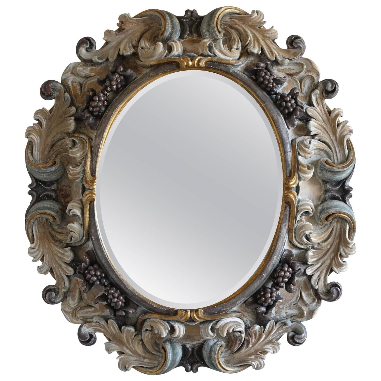 Italian Rococo Style Carved Wood Mirror Circa 1930s