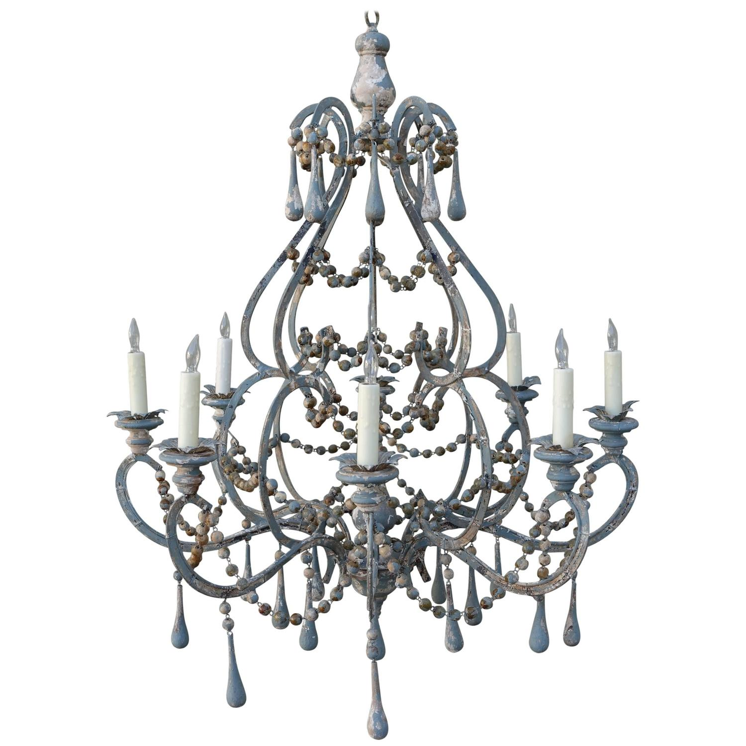 Italian Painted Eight Light Wood and Iron Chandelier