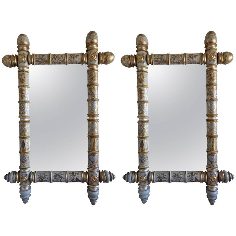 Pair of Chinoiserie Painted Bamboo Style Mirrors
