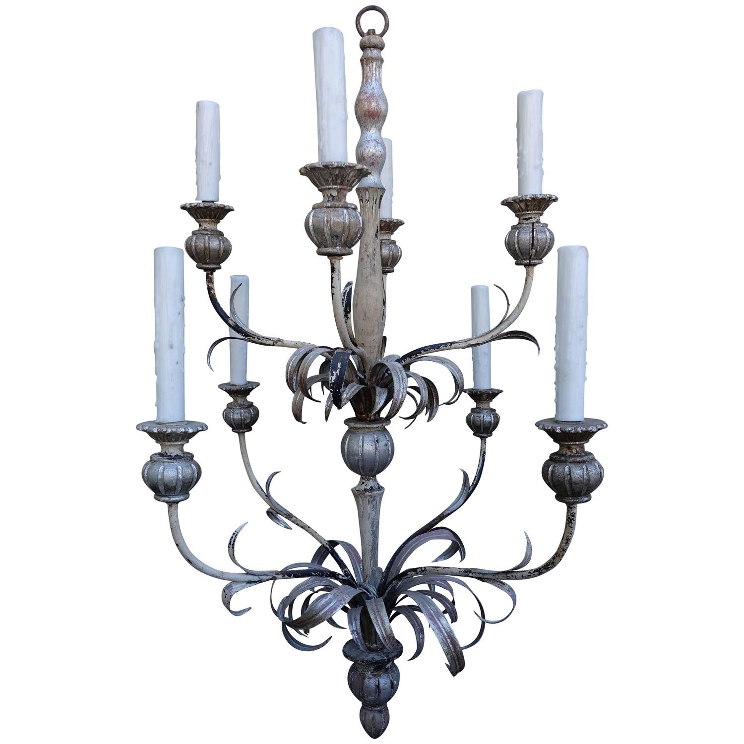 Eight light silvered two tier chandelier melissa levinson antiques eight light silvered two tier chandelier arubaitofo Image collections