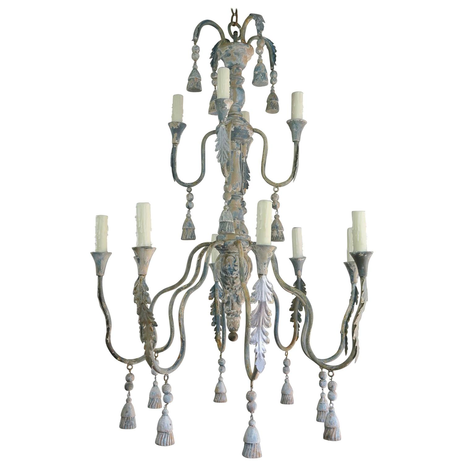 Twelve Light Italian Iron and Wood Painted Chandelier