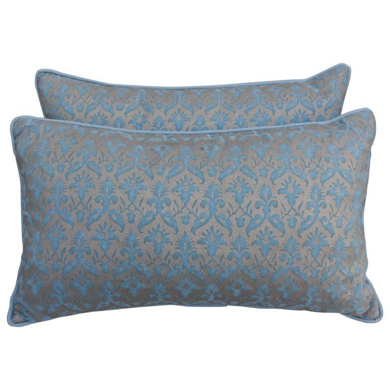 Delfino Patterned Aquamarine Pillows, Pair