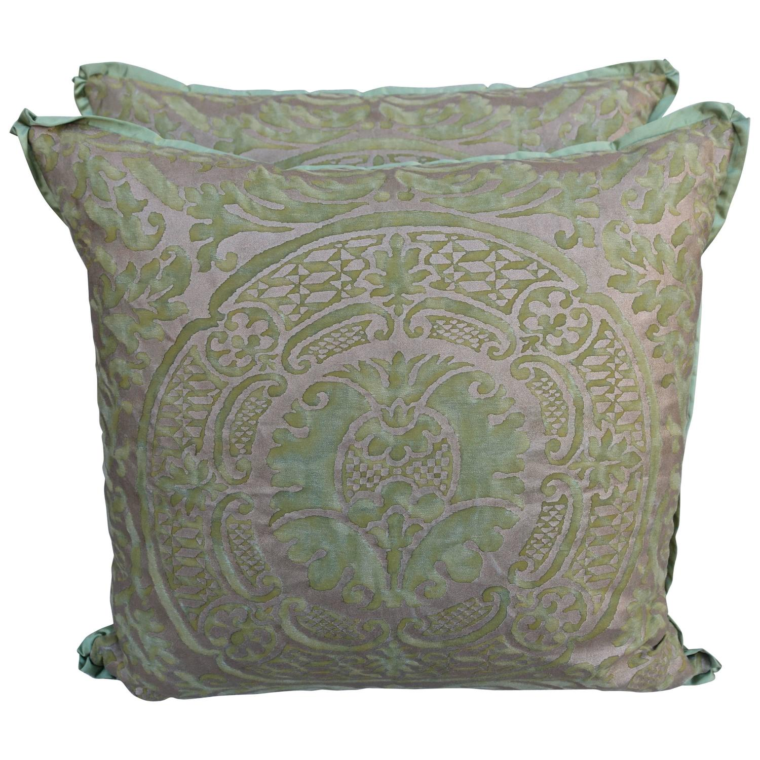 Orsini Patterned Green And Gold Fortuny Pillows