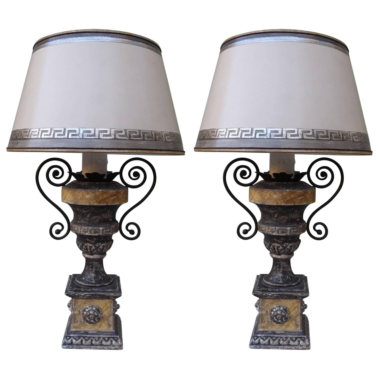 neoclassical lighting. Pair Of Neoclassical Style Painted Urn Lamps With Shades Lighting