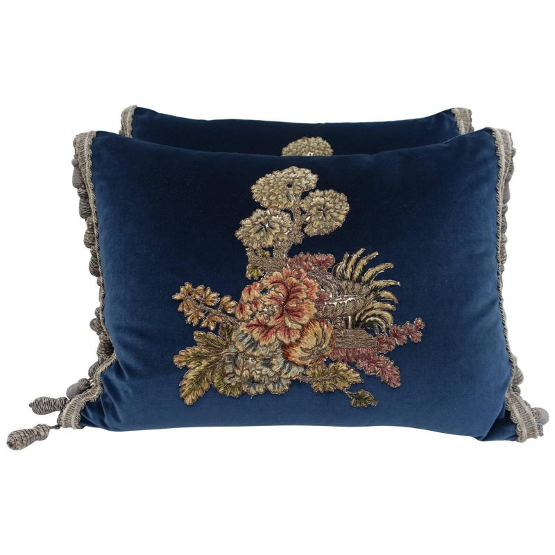Velvet Pillows with 19th Century French Appliques