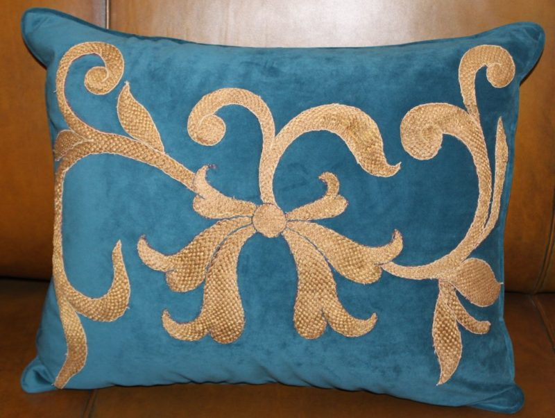 Pair of Dark Teal Velvet Appliqued Gold Metallic Pillows