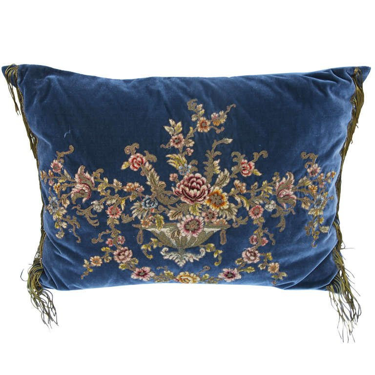 19th Century French Metallic & Chenille Velvet Pillow