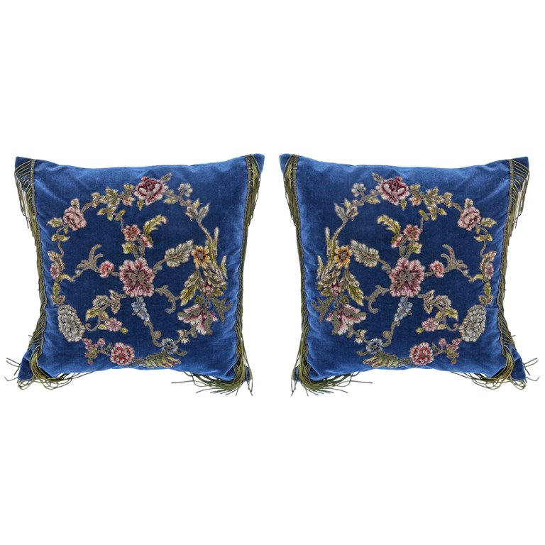Pair of 19th C. Embroidered & Appliqued Pillows
