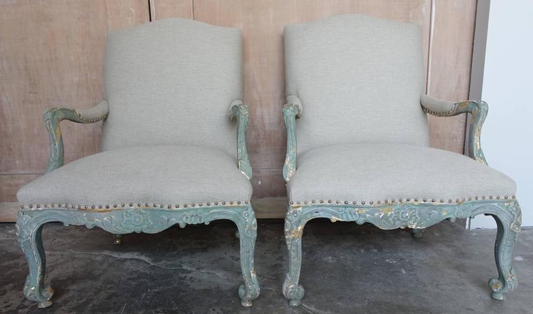 Pair of Aqua Painted French Rococo Style Fauteuils