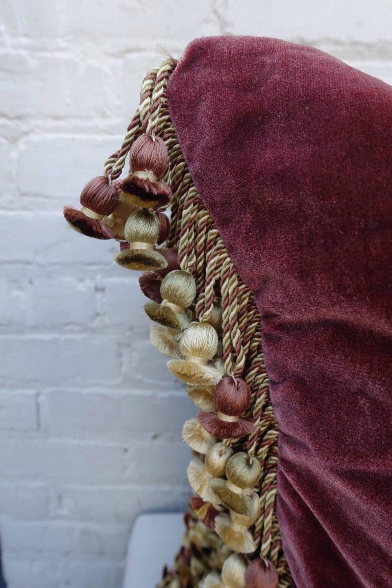 Pair of Metallic & Chenille Embroidered Silk Velvet Pillows