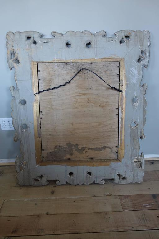 Antique Italian Carved Painted Mirror with Bevel