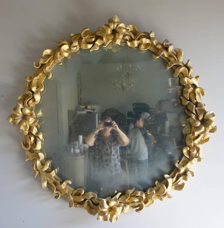 Gilt Wood French Mirror with Flowers, circa 1900