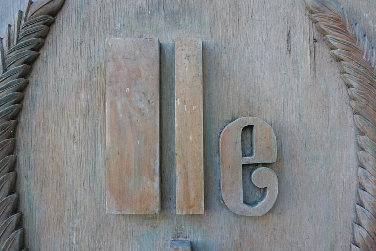 "Monumental Carved Wood ""Lle De France"" Sign"