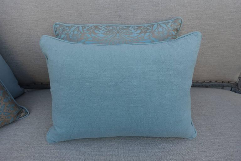 Aquamarine Campanielle Patterned Fortuny Pillows