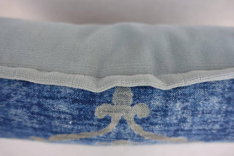 Blue and Gray Vintage Fortuny Textile Pillow