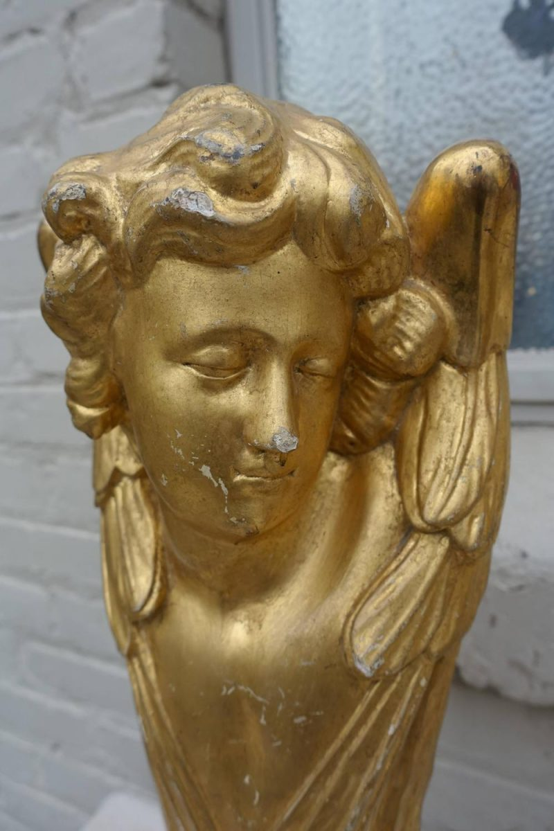 Pair of 19th Century Gold Leaf Cherubs on Lucite Bases