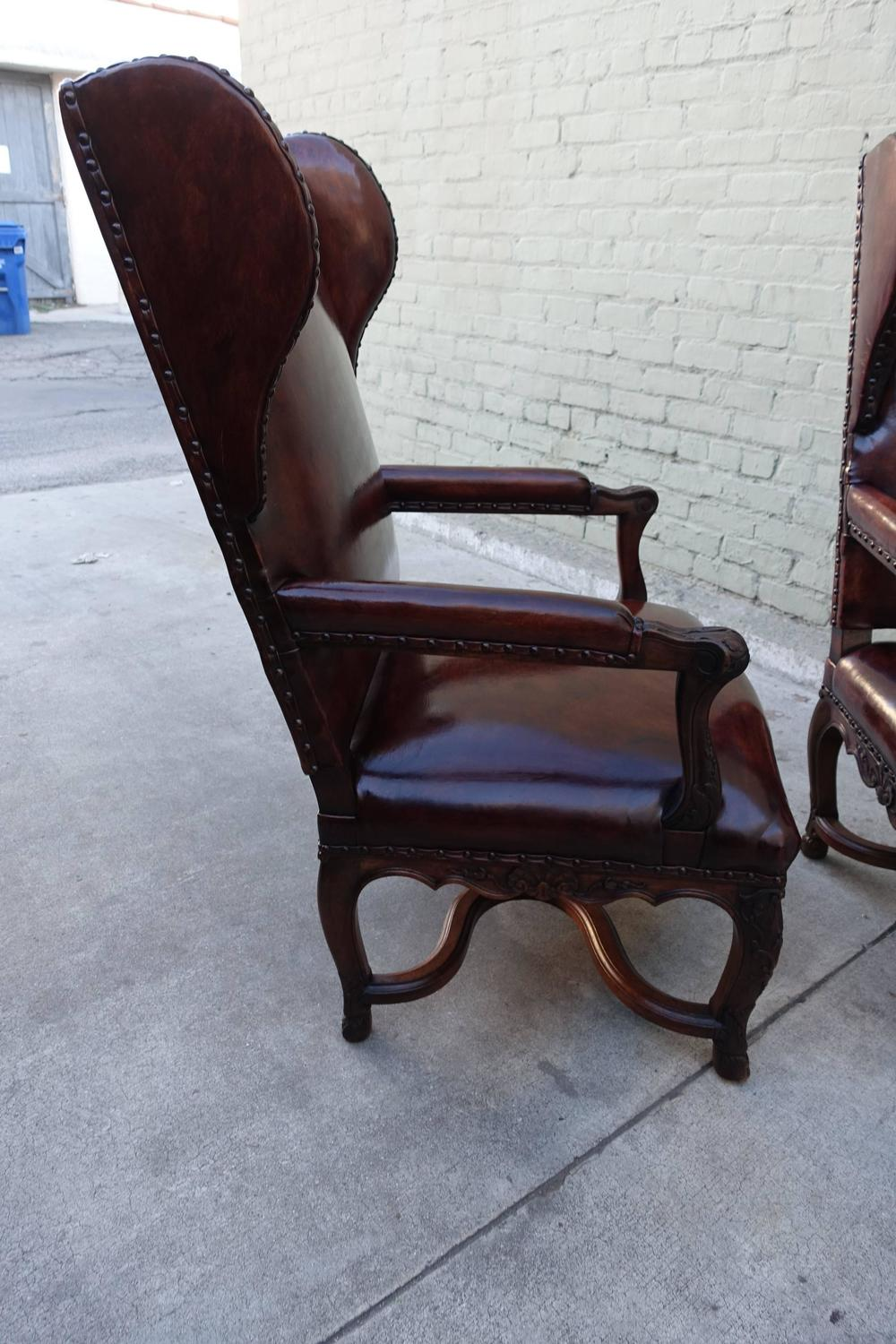 pair of french regence style leather armchairs melissa levinson