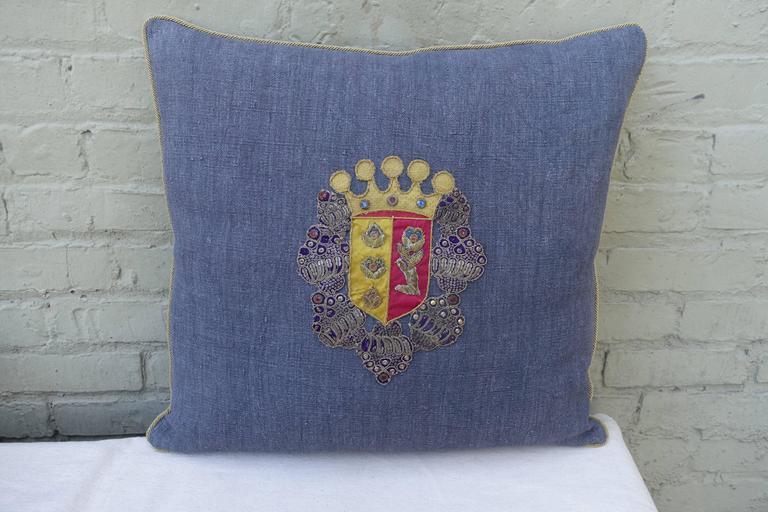 Pair of 19th Century Coat of Arm Pillows