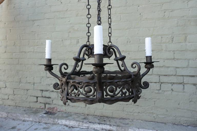Spanish four light wrought iron chandelier melissa levinson antiques spanish four light wrought iron chandelier aloadofball Image collections