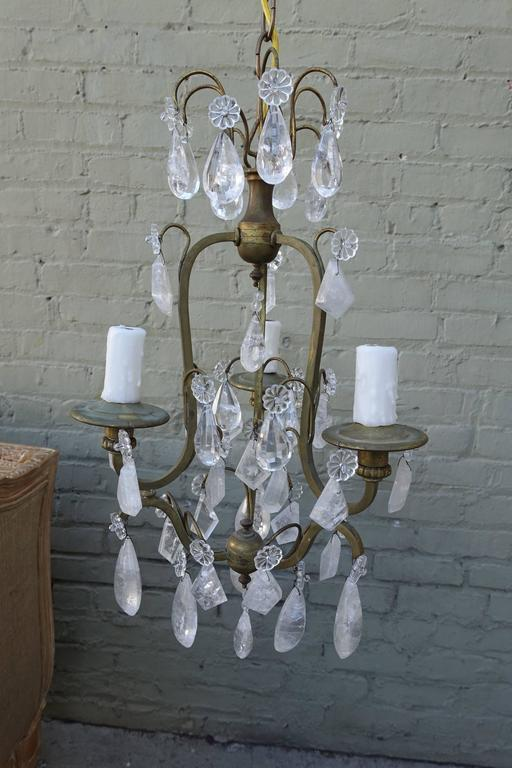French three light rock crystal chandelier melissa levinson antiques french three light rock crystal chandelier aloadofball Image collections