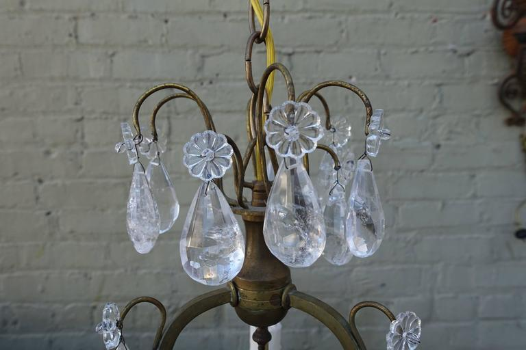 French Three-Light Rock Crystal Chandelier - French Three-Light Rock Crystal Chandelier Melissa Levinson Antiques