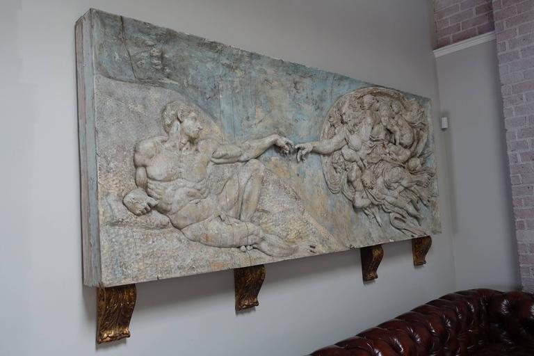"""19th Century Italian Painted Carving of """"The Creation"""""""