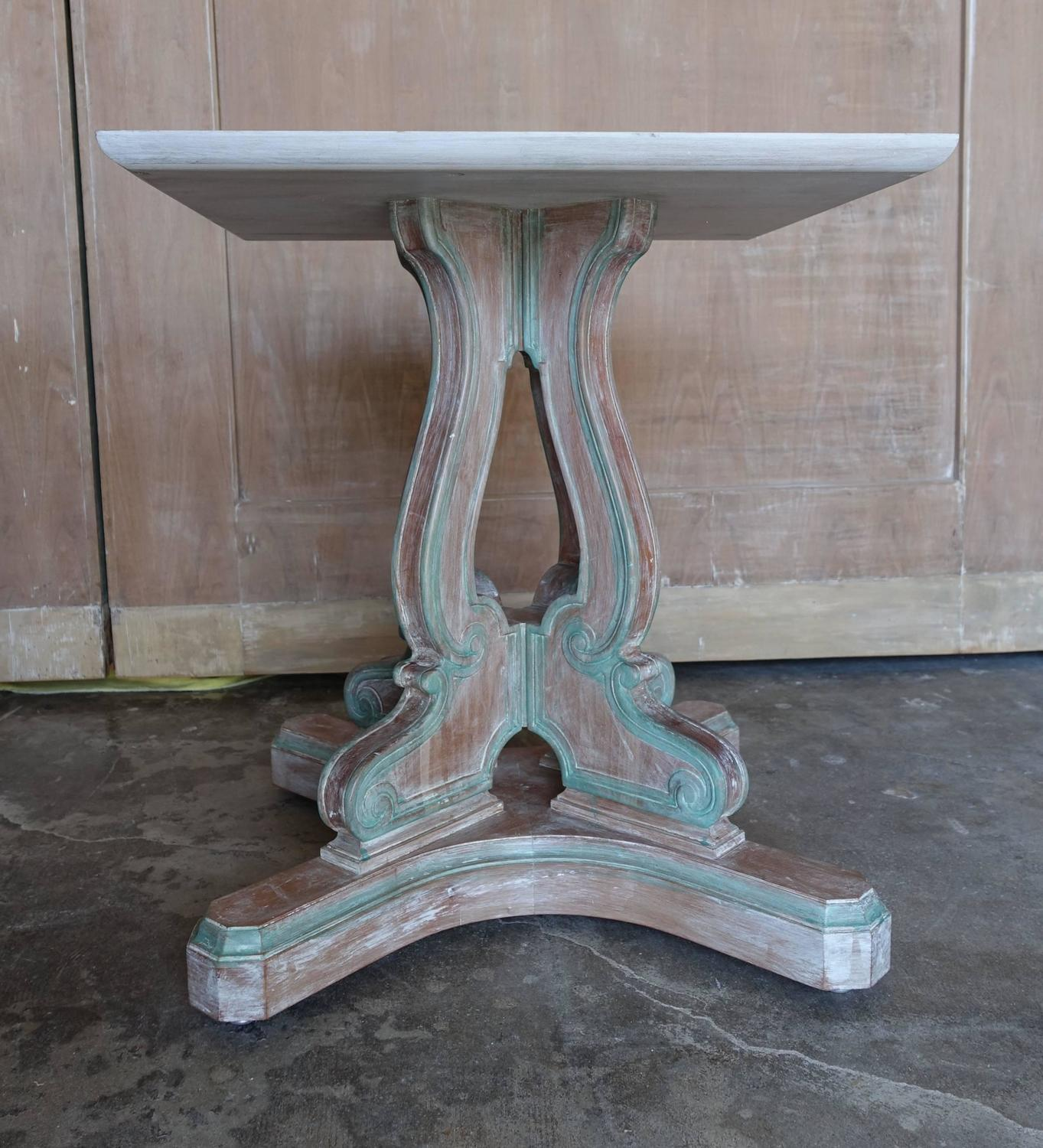 Italian Painted Pedestal Dining Table With Burl Wood Top