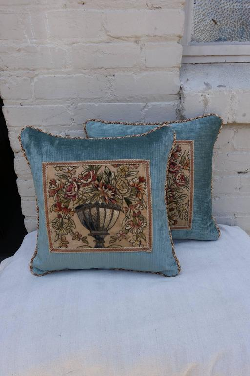 Pair of 19th Century Metallic and Chenille Embroidered Textile Pillows