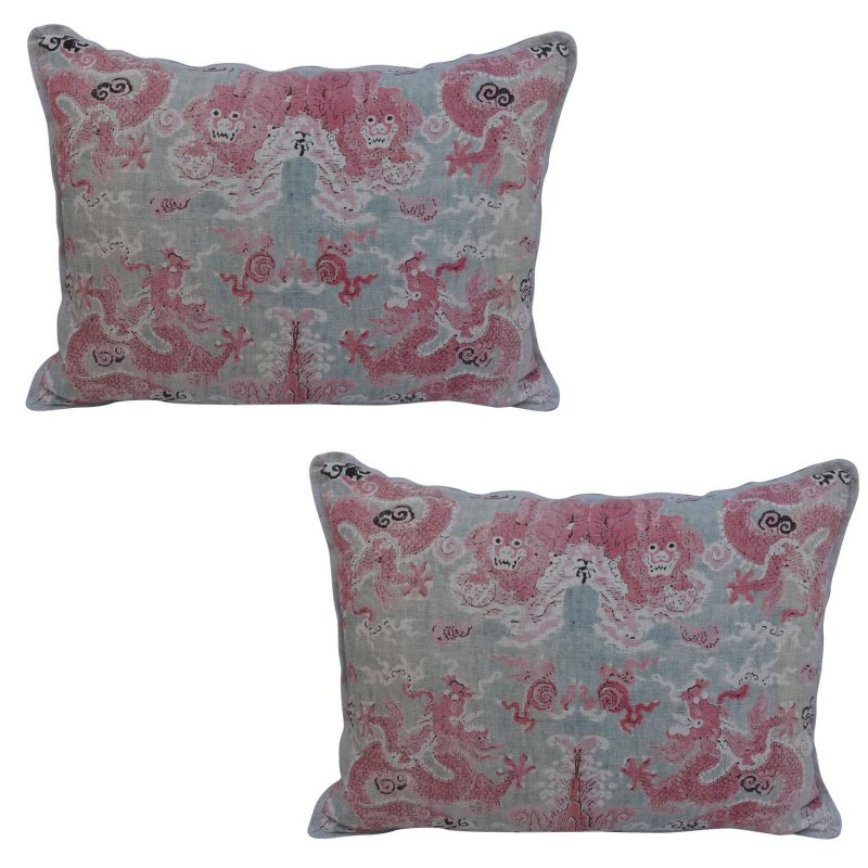 Pair of Chinoiserie Printed Linen Pillows